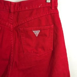 Guess Red Denim Mom Jeans Shorts Vintage